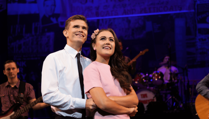 image of Bobby (Alex Beaumont) and Laura (Elizabeth Carter) - Dreamboats and Miniskirts. Image credit Darren Bell.