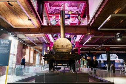 Stephenson's Rocket is on display at Manchester Science and Industry Museum