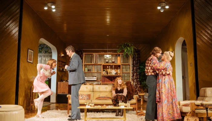 Manchester Theatre - Abigails Party at Manchester Opera House stars Vicky Binns, Daniel Casey, Rose Keegan, Calum Callaghan, and Jodie Prenger