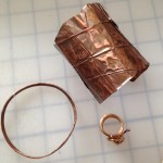 copper foil cuff, copper bangle and ring