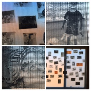 vintage negatives stitched to screen