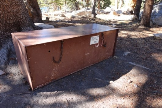 Bear Box. Each campsite has a box with different opening and locking mechanism. Just in case the bears can figure it out...