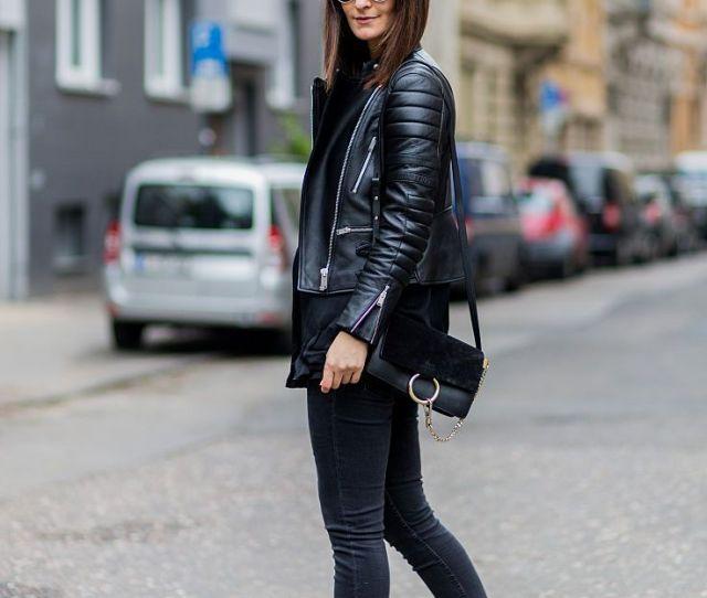 Motorcycle Jacket Black Jeans And High Heels