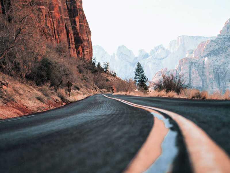 empty street on winding road