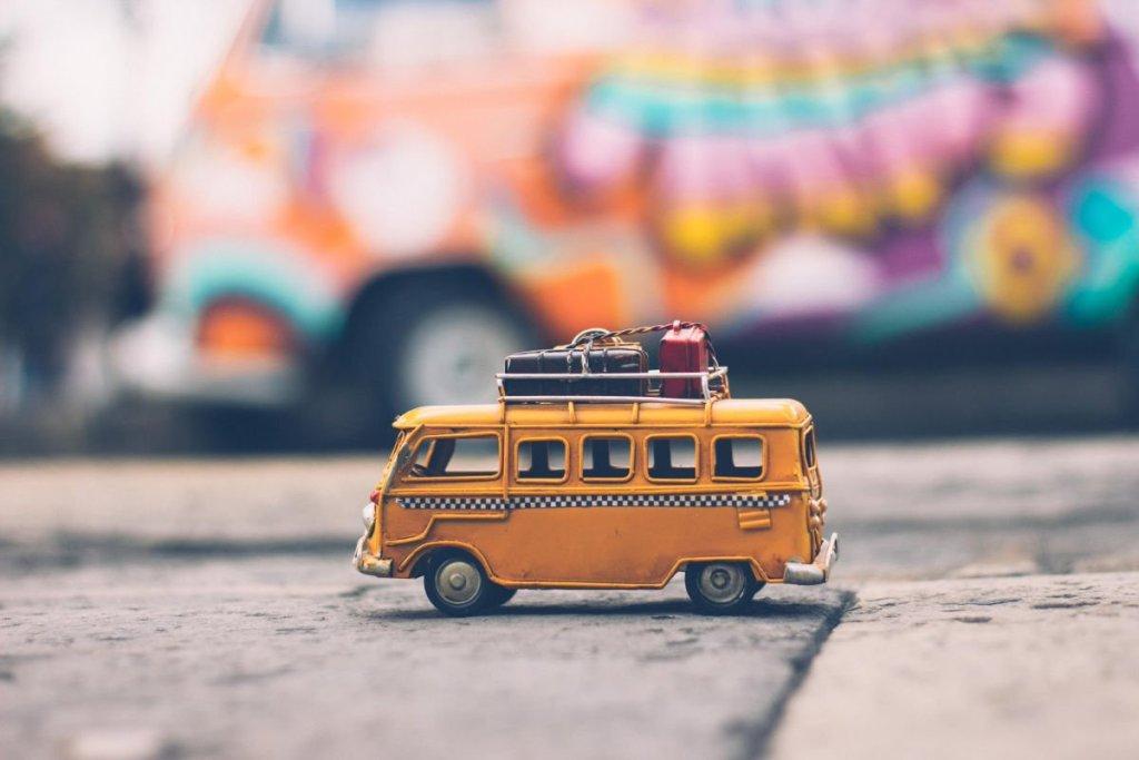 Road trip van on sidewalk
