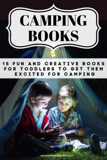 Two children reading books in a tent in the dark