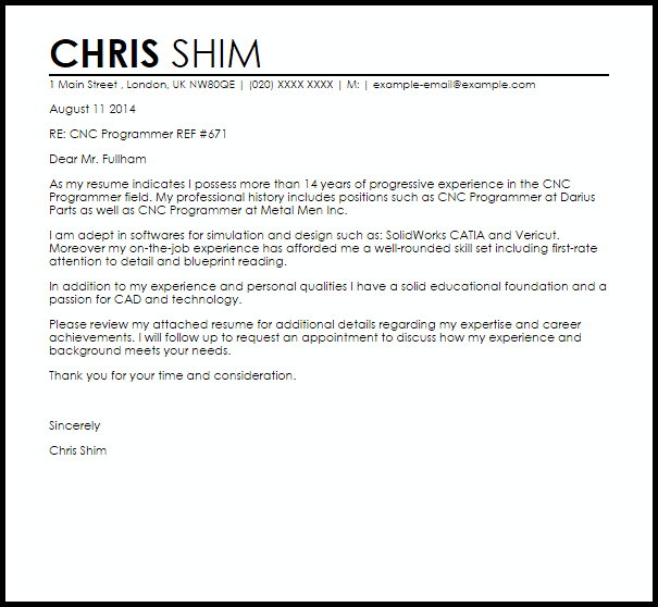 CNC Programmer Cover Letter Sample Cover Letter Templates Amp Examples