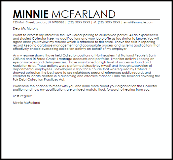Collector Cover Letter Sample | Cover Letter Templates ...
