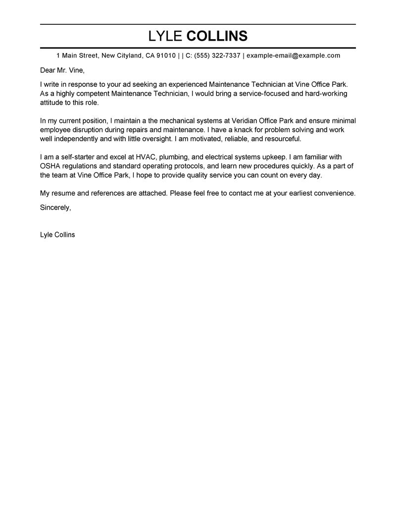 Maintenance Technician Cover Letter Examples Maintenance Amp Janitorial Cover Letter Samples