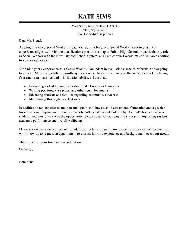 Hospital Social Worker Cover Letter Image collections - Cover ...