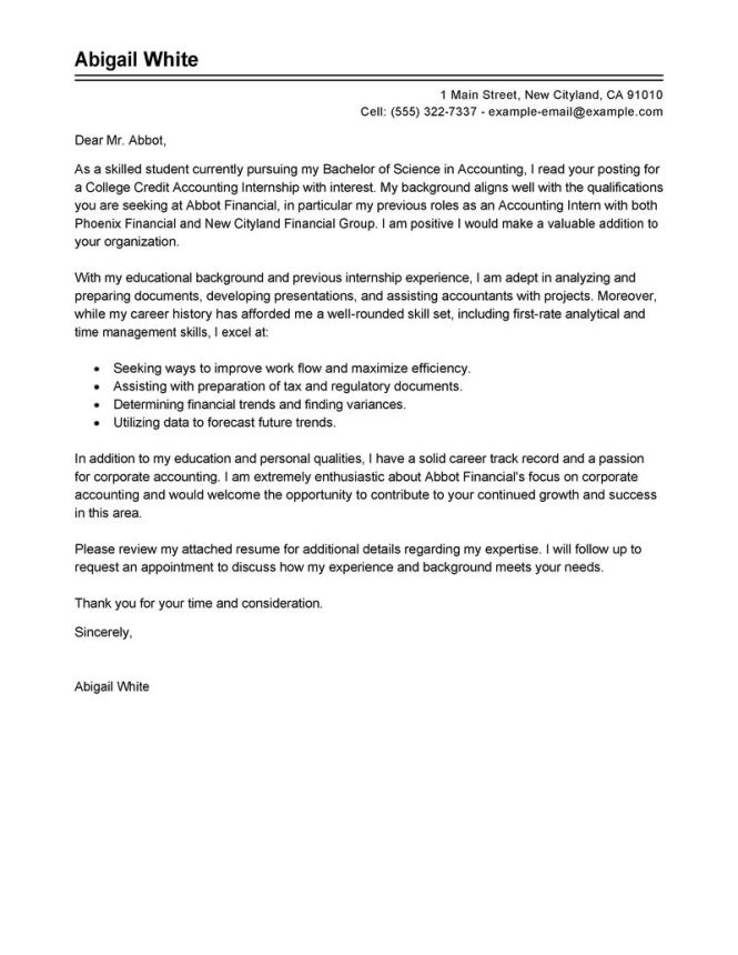 Cpa Cover Letter