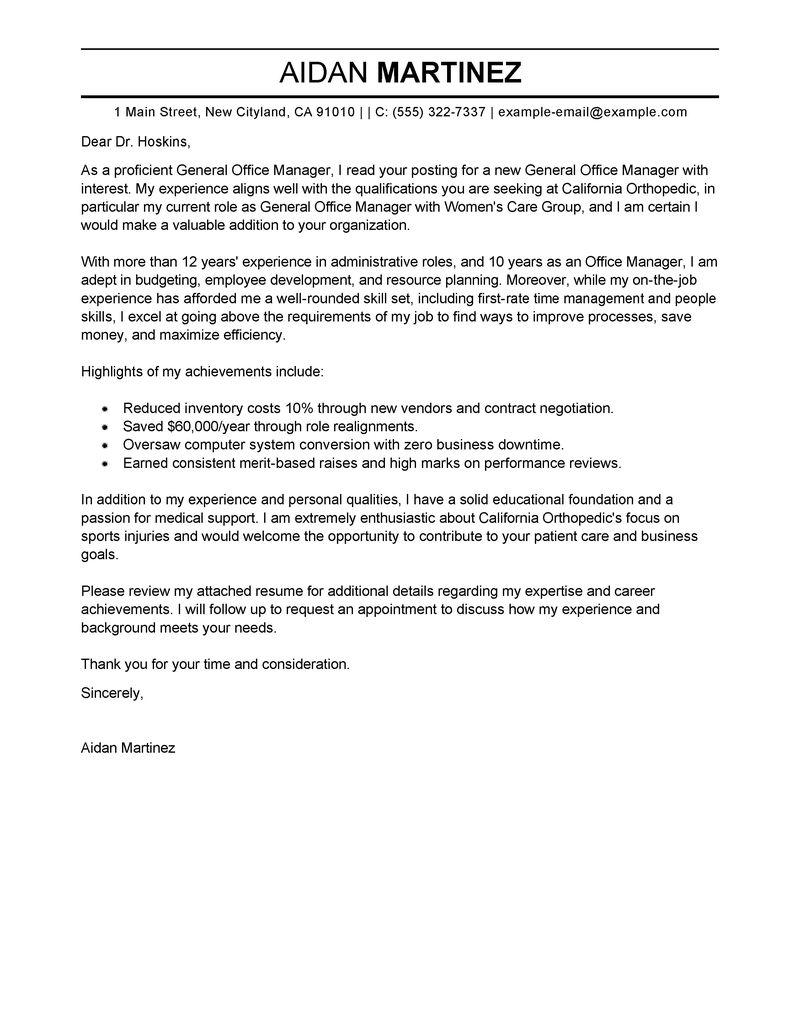 Sample Cover Letter For Business Office Manager | Docoments Ojazlink