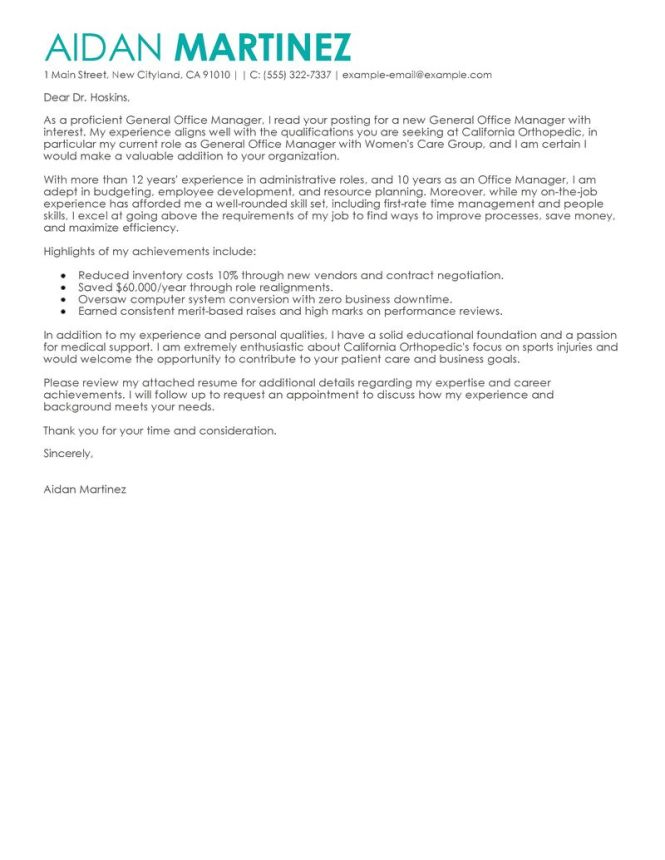 Medical Office Manager Cover Letter Socialscico