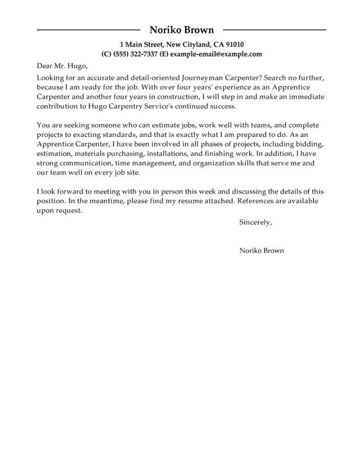 carpentry cover letters - Paso.evolist.co