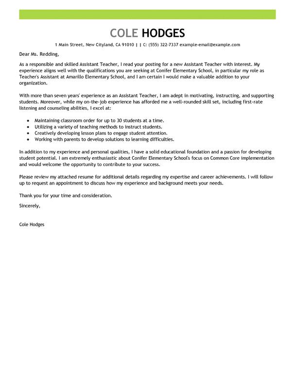 Cover Letter For Master Teacher