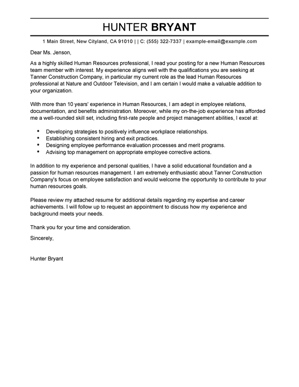 Writing A Cover Letter To Human Resources 19 Create My