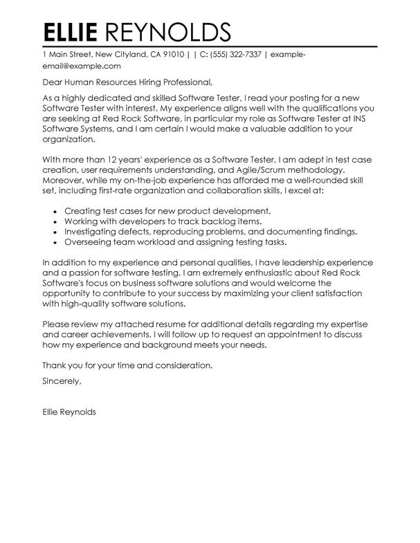 Resume Cover Letter For Test Engineer - Cover Letter Templates