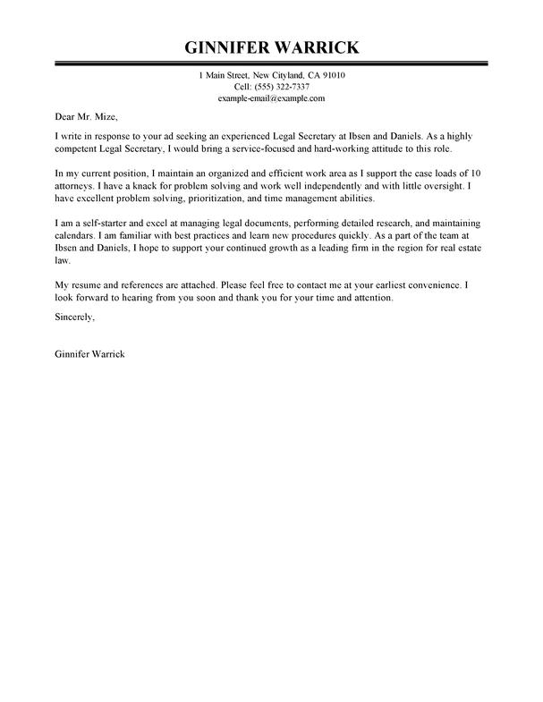 Sample Cover Letter For Law Clerk Position Clerkship