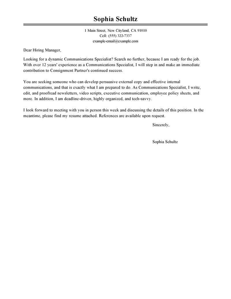 Agency Specialist Cover Letters