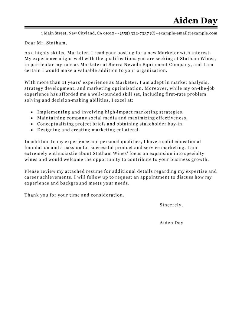 Marketing communications cover letter template picture 2