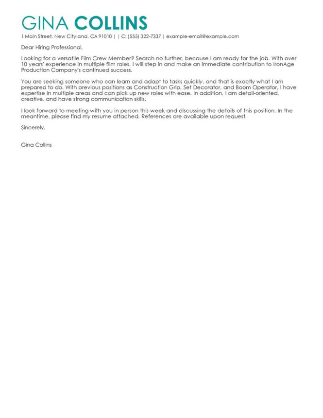 Cover Letter For A Teaching Job