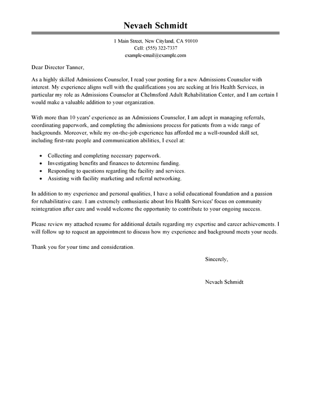 Admissions Coordinator Cover Letter