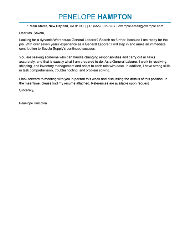 Cover Letter Example General Labor - Cover Letter Templates