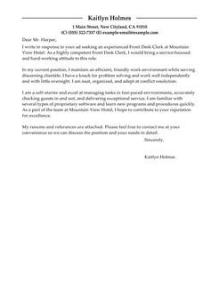 Hotel Front Desk Cover Letter Examples Accounting. Reconciliation Clerk ...