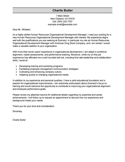 hr cover letter sample