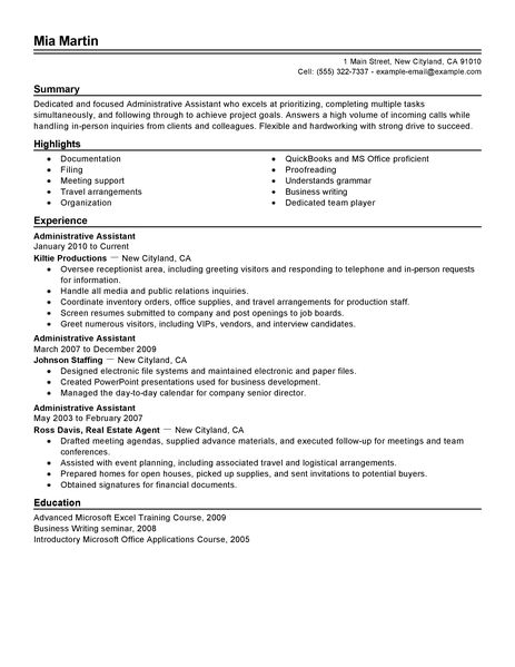 nice admin istant resume examples images gallery administrative