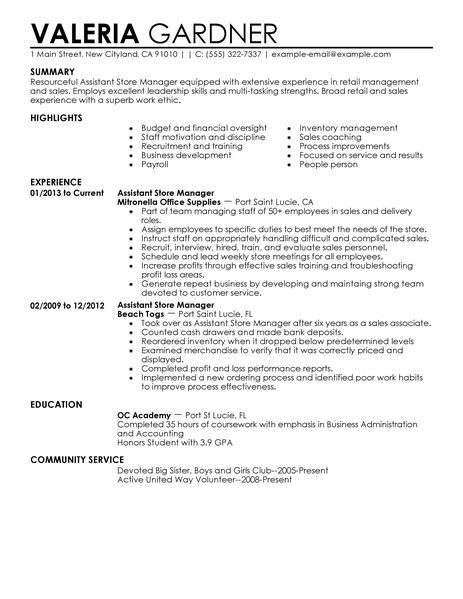 Resume Template For Retail Job Resume Sample