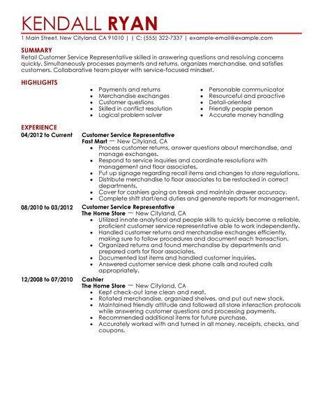 retail and customer service resume