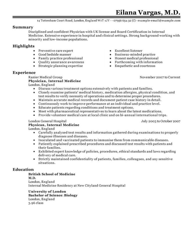 Medical Field Resume Templates Resume Sample