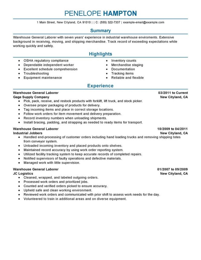 resume general labor resume sample laborer resume example - Laborer Resume Examples