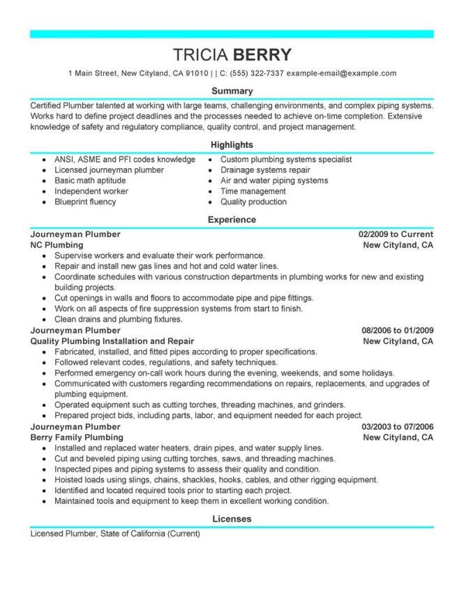 apprentice plumber resume sample