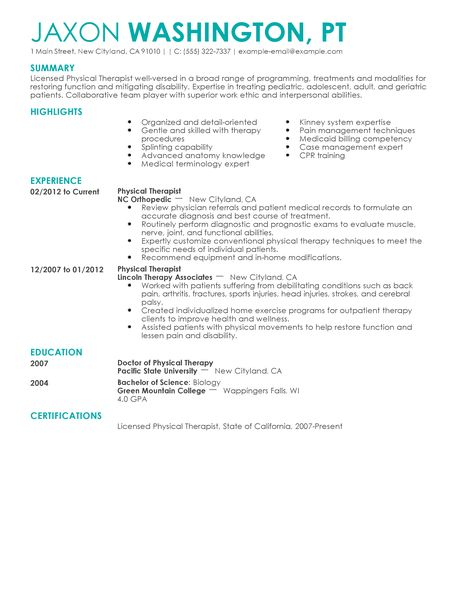 sample pediatric occupational therapy resume – Occupational Therapy Resume Template