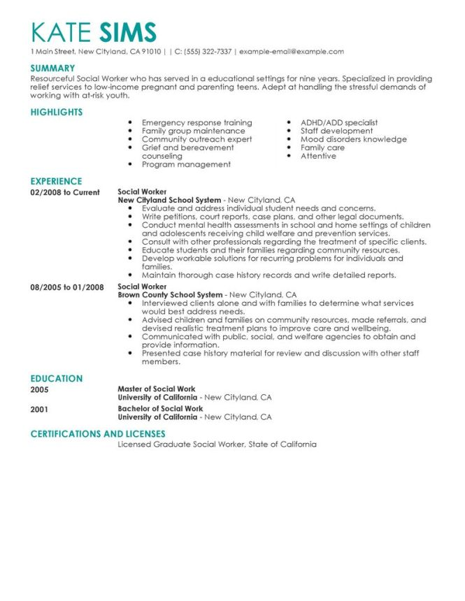 Job Resume Sle Social Worker Exle Munity Mental Health Clinical Summa