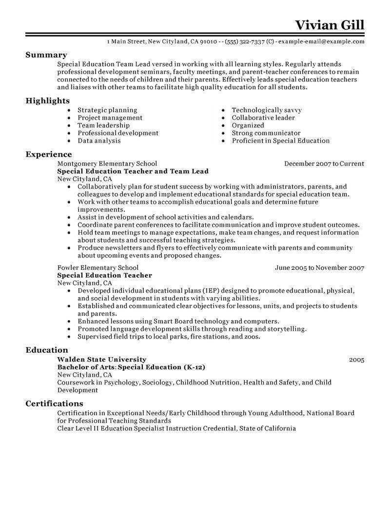 Educational Leadership Resumes Fieldstation Co. Team Lead Resume Sample  Unforgettable ...