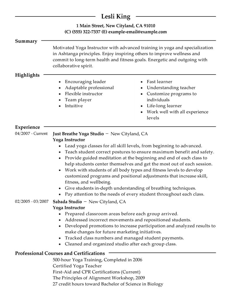 resume examples yoga contemporary picturesque www