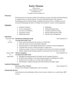 Accounts Receivable Resume | E-Resume