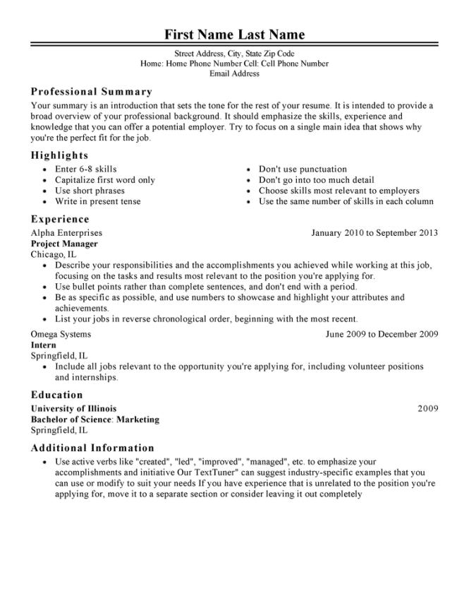 resume phone number