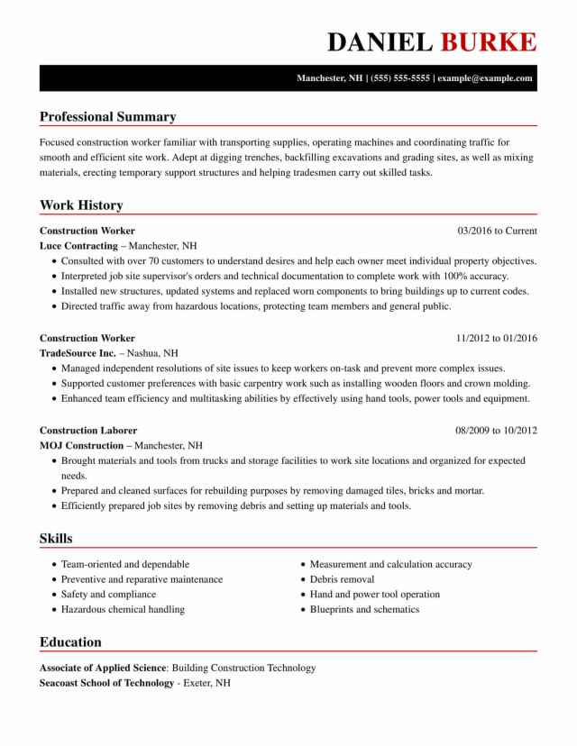 Professional Construction Resume Examples  LiveCareer