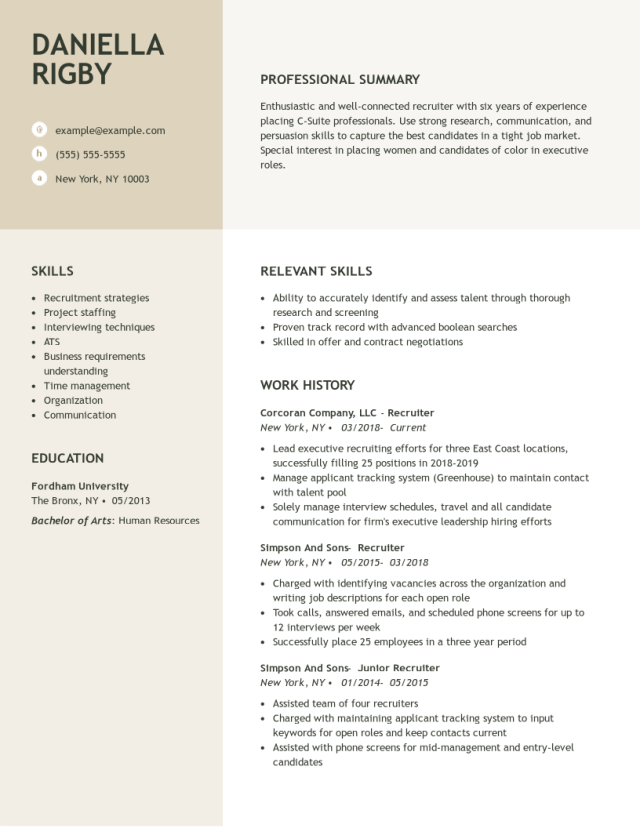 Recruiter Resume Examples  Human Resources  LiveCareer