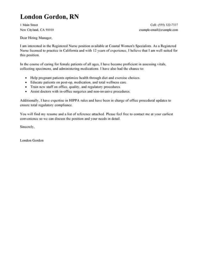 Professional Registered Nurse Cover Letter Examples  LiveCareer