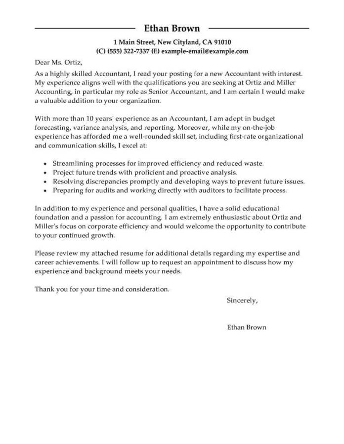 Accountant Cover Letter Examples Accounting Livecareer