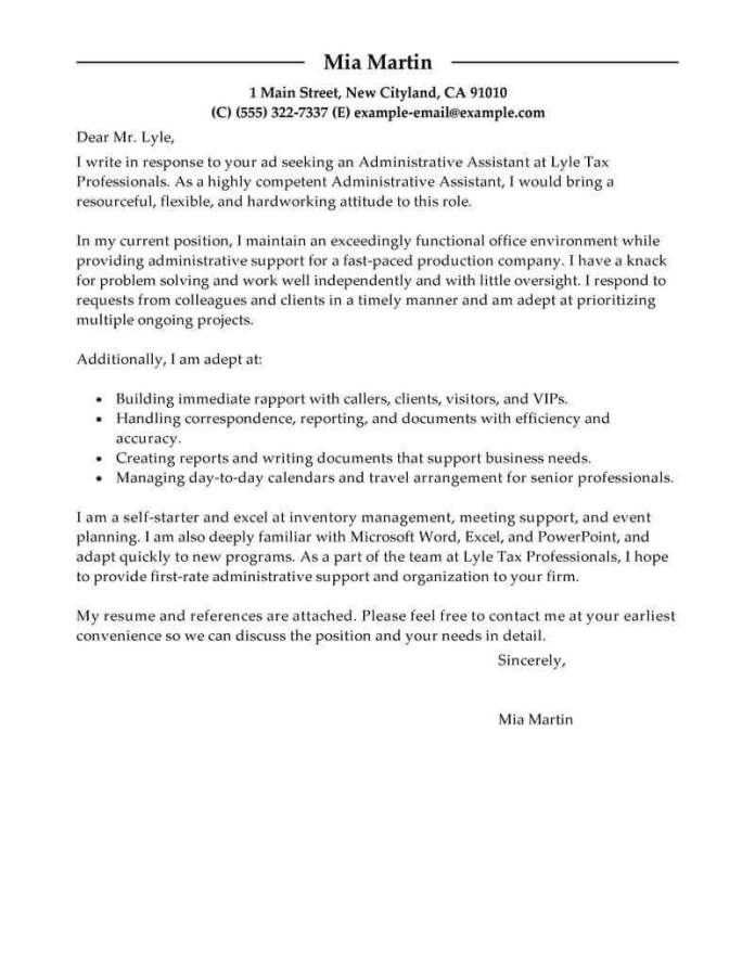 Administrative Assistant Cover Letter Examples Livecareer