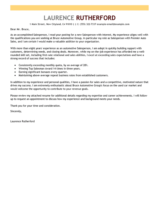 Following up on a click. Automotive Salesperson Cover Letter Examples Livecareer