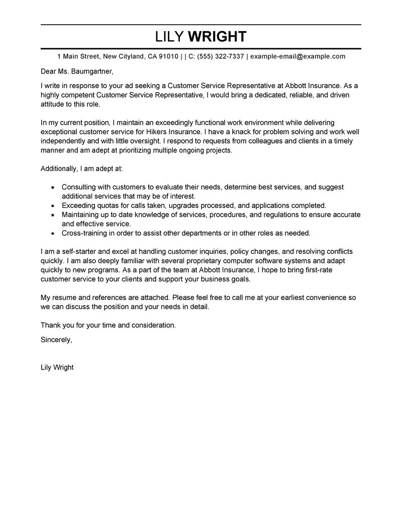 Best Customer Service Representative Cover Letter Examples  Resume For Customer Service Position