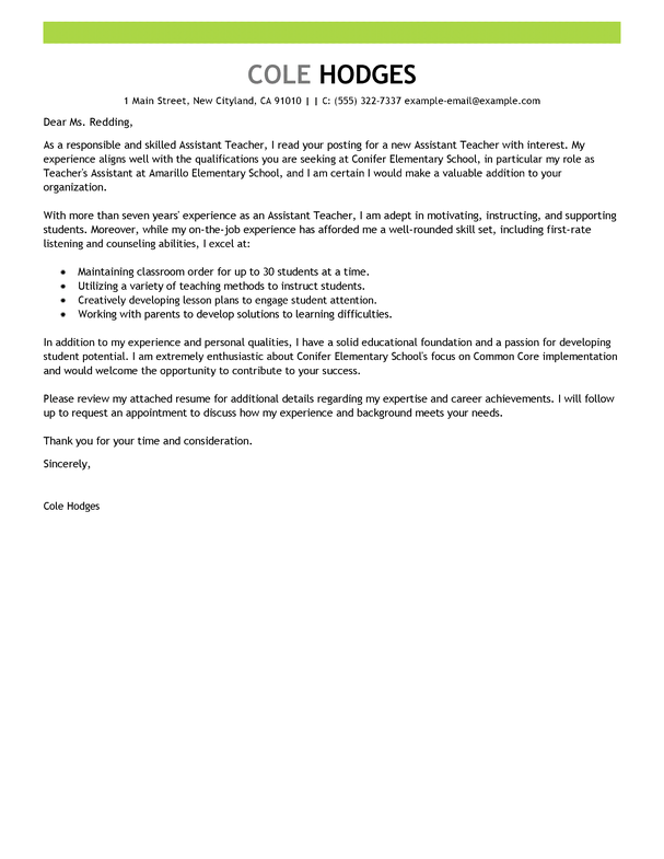 Best assistant teacher cover letter examples livecareer for Starting off a cover letter