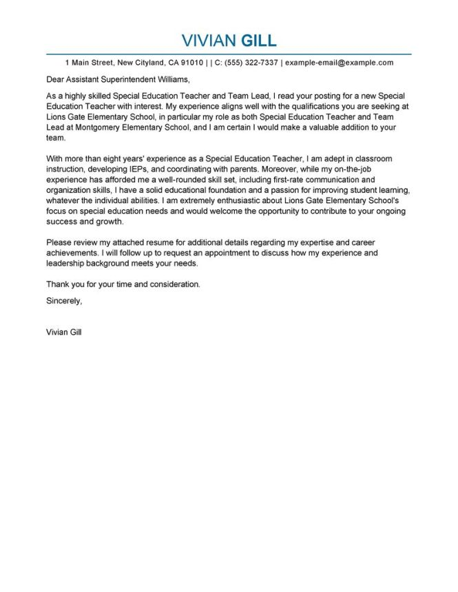 Cover Letter For Special Education Teacher